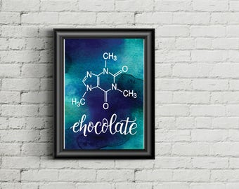 Chocolate molecule- printable, nerdy, science chemistry blue, nerd, gift for men, father's day-last minute gift - gift for him
