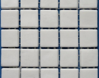 """ON SALE 15mm (3/5"""") White Opaque Glass Mosaic Tiles//Square Mosaic Supplies//Mosaic"""