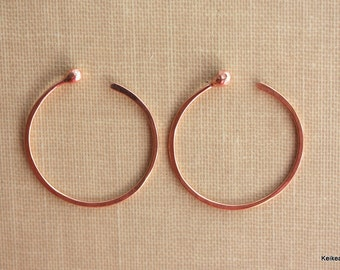 Hoop Earrings , Copper Hoop Earrings , One Inch , 1 Inch Hoops