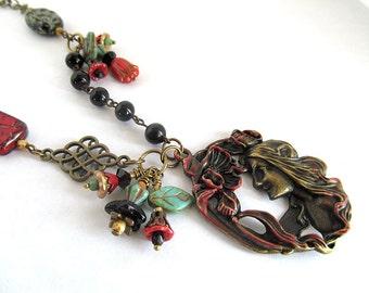 Alphonse Mucha Art Nouveau Pendant Necklace, Art Deco Pendant Necklace, Black, Red, Vintage Brass Flower Bead Necklace, Darla Dietz