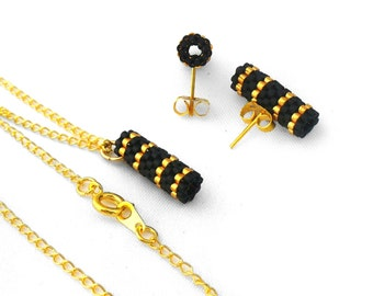 Gold and Black Necklace, Black Peyote Jewelry, Gold Stud Earrings, Minimalist Earings, Modern Bridesmaid Jewelry Gift Set - Made in Germany