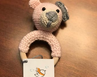 Pink Baby Crochet Bear Rattle