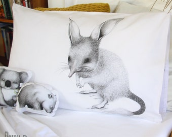 Bilby pillowcase, facing left. Illustrated pillowslip. Australian Gift with original art by flossy-p.