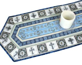 Religious Crosses Quilted Table Runner - Dan Morris Heavenly Fabric Table Runner - Quiltsy Handmade Patchwork Quilt, Easter Christmas Runner