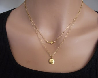 Christmas SALE  two necklaces Small Sideways Cross with 24K Gold Initial Necklace, Double Chain,  Personalized Necklace,   Gold Necklace,