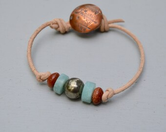 Pyrite Gem Stones. Leather Bracelet . Copper Handmade Button . In The Forest Button . Boho . Glass . Wedding Gift .Bracelet. Boho .