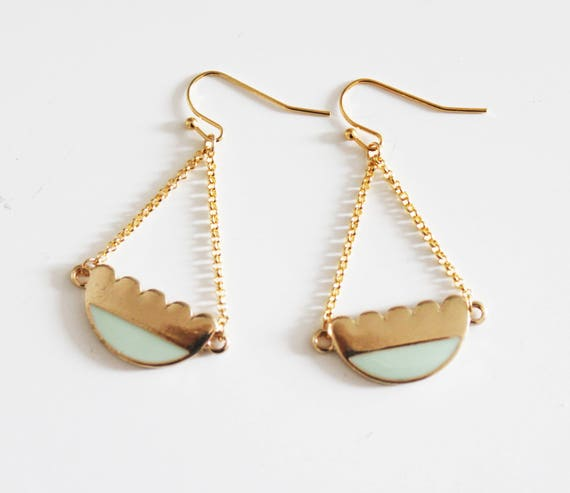 Gold and Mint earrings, enamel and gold-plated