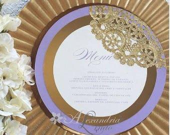 Lilac and Gold Menu Card