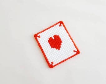 Heart Bookmark Vintage Needlepoint on Plastic Canvas