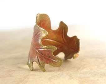 Hand Painted Oak Leaf Ring - Autumn Jewelry - Patina Jewelry - Artistic Jewelry Unique Handmade Jewelry Vintage Style Brass Autumn Leaf Ring