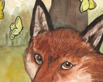 Original Art - The Queen of Foxes - Watercolor Fox Painting -The Badgers Forest Tarot