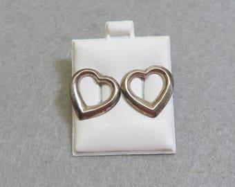 Sterling Silver Heart Pierced Earrings, Vintage, Post Style