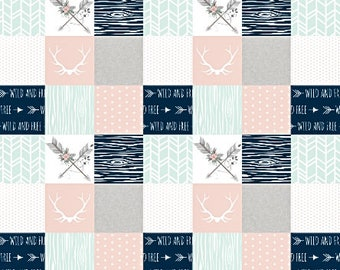 Boho Baby Quilt, Woodland Baby Quilt, Baby Girl Quilt, Baby Girl Blanket, Minky Baby Blanket, Crib Bedding, Pink Grey Gray Mint, Arrow, Love