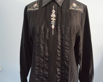 BOHO Chic Black Silk EREZ LEATHER Crystal Embroidery Shirt Blouse Button Down Long Sleeve Size 6