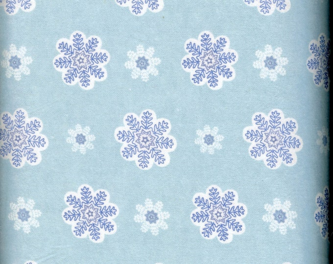 Blue Snowflakes 100% cotton FLANNEL, sold by the yard