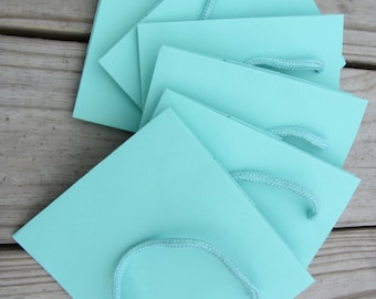 """50 Pack - Robins Egg Blue Gift Bags 5.5"""" x 3.5"""" x 6"""" Heavy-Weight Paper"""