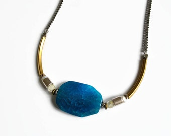 Blue choker necklace Stone choker necklace Blue stone necklace agate Blue jewelry Statement stone Royal blue jewelry Unique necklaces