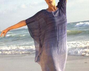 Romantic beach chiffon blue tunic