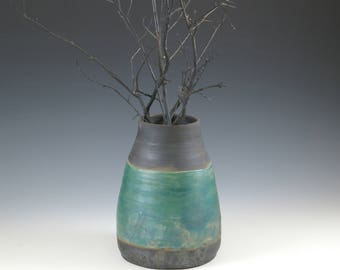 Dark Metallic Vase Pottery, Primitive Pottery, Matte Black Art Pottery, Seven 7 Inch Vase, Metal Art, Modern Decor Gift, New Home Art Gift