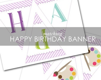 Painting Art Party BANNER - Art Painting Party happy birthday banner INSTANT DOWNLOAD