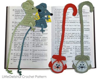 024 Crochet Pattern - Cat and Mouse Decor or Bookmarks - Amigurumi PDF file by Zabelina Etsy