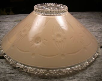 Vintage Art Deco Pressed Glass Shade 3-Hole Chain Light Globe Blush Pink & Clear Vintage Ceiling Light Shade Shabby Cottage Bungalow Decor