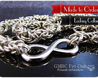 LOCKING Day Collar with Vanilla Converter - Stainless Steel Infinity Link with Byzantine Chain - Made to Order