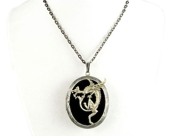 Dragon Pill Box Necklace Inlaid in Hand Painted Glossy Black Enamel Game of Thrones Inspired Locket Necklace Personalized and Color Options