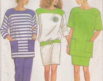 Pullover Top Pattern Pants Skirt Long Short Sleeve Misses Size 8 - 18 Uncut New Look 6328