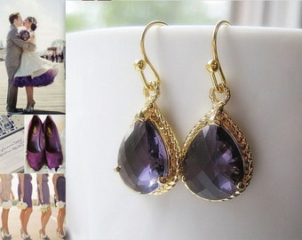 Purple Amethyst Drop Earrings / Glass Dangle / Teardrop Earrings / Bridesmaids / Bridal / Wedding / Purple & Gold / 14K Gold Filled Wire