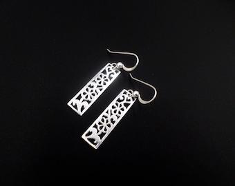 Sterling Silver Earrings, Silver Cut Out Flower Earrings, Dangle Drop Earrings, Flower Jewelry, Sterling Silver Jewelry, Pattern Earrings