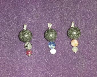 Pendant Fragrance Diffuser in silver, howlite/sodalite (or labradorite/lepidolite) and lava stone