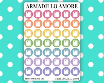 126 | Book Icon Reminder Stickers {42 Fancy Matte or Glossy Planner Stickers, Double Rainbow}