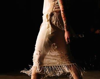 Flapper Fringe Dress/Silk Flapper Dress/Beaded Shell Flapper Dress