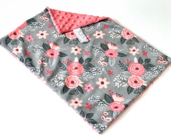 Grey and Pink Floral Baby Girl MINKY Lovey Blanket, MINI Minky Baby Blanket, Taggie Blanket, Baby Bedding, Baby Girl Lovey Blanket