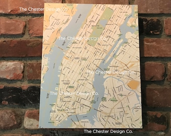 "NYC Map on Canvas (11"" x 14"") - Custom Options Available"
