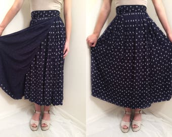 True wrap around style midi skirt blue and white design high waisted bohemian boho hippie gypsy one size