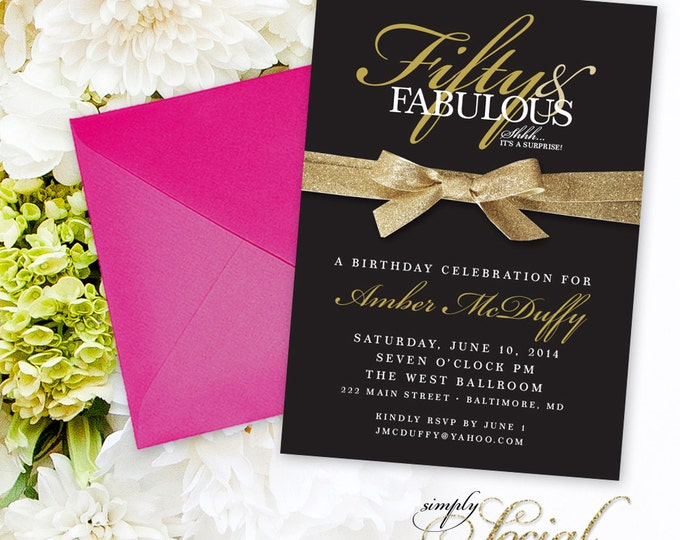 50th Birthday Invitation - Surprise Fifty and Fabulous 60th 50th 40th 30th Birthday Party Invitation with Gold Glitter Ribbon