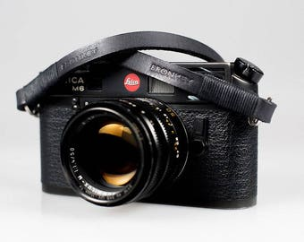 Bronkey - Tokyo #1 - Black & Black - Leather Camera Strap for mirrorless, Nikon, Leica, Fuji X serie, 35mm, Olympus, DSLR, etc.