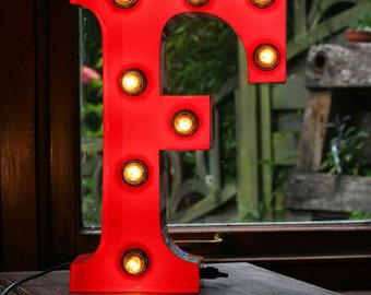 "15""/ 38cm Mains Powered Vintage Marquee Letter Light - Letter F - Floor Light - Letter Prop/Display - Available in Rusty or Red"
