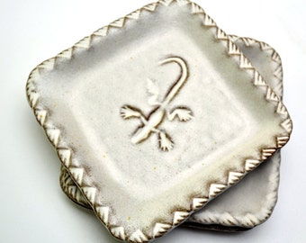 Southwest Square Plate Stamped Lizard