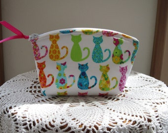 Cat Clutch, Small Cosmetic Bag,  Cat Purse, Essential Oils Pouch, Small Camera bag, Colorful Cats Made in USA
