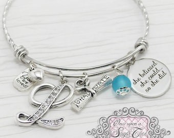 Graduation Gift,She Believed she could so she did,Letter Charm Bangle Bracelet-Jewelry-High school New Grad Gift, College Grad Gift,Graduate
