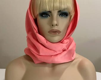 Long pink satin scarf, head wrap, neck scarf, women's accessories, gifts for her