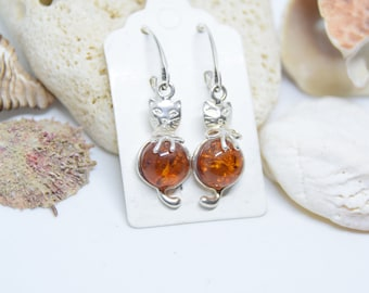 Baltic Amber Cat Earrings, Silver Baltic Amber Earring, Cognac Amber Earrings, Amber Earring, Gift Earring, Free shipping + Gift Box