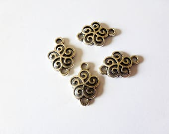 4 connectors 20 * 13mm stylized flower antique silver (FOCA01)