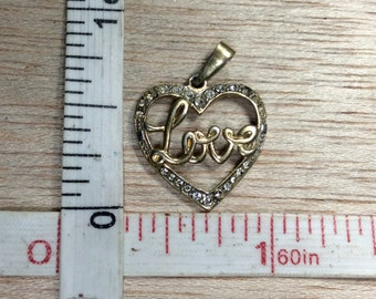 Vintage 925 Sterling Silver 1.1g Gold Washed Cz Heart Pendant Used