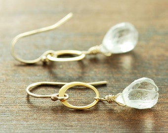 Gold Gemstone Hoop Earrings, Clear Carved Quartz Earrings, Wedding Jewelry