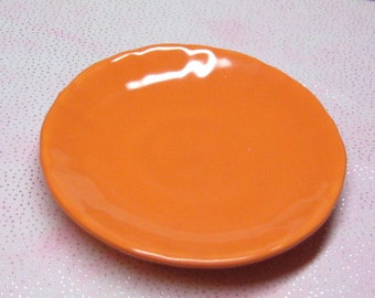 18 inch doll plate 69mm sized for American Girl party favor miniature dish orange ceramic made in USA