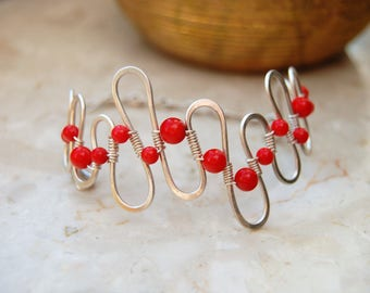 Red coral gemstone silver plated wire-wrapped handmade bracelet wave shape